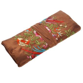 Elegant Multi-purpose Handmade Embroidered Jewellery Roll Cosmetic Storage Bag Organizer (Random Color)