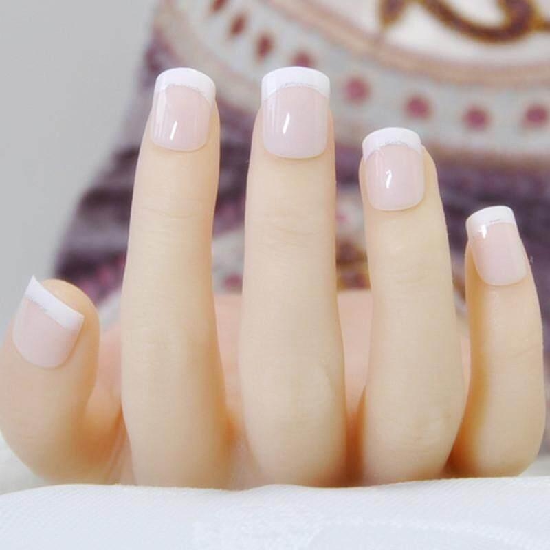 ... Fashion Natural Kuku Prancis 24 Pcs Pendek Kuku Palsu Acrylic Nail Art Alat-Internasional ...