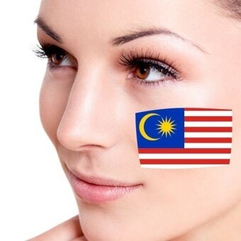 Bendera Malaysia Wajah Tato Sementara Tato Badan Seni Flashtattoo Stiker Air Transfer Dapat Dilepaskan Stiker Tato Warna-warni-Internasional