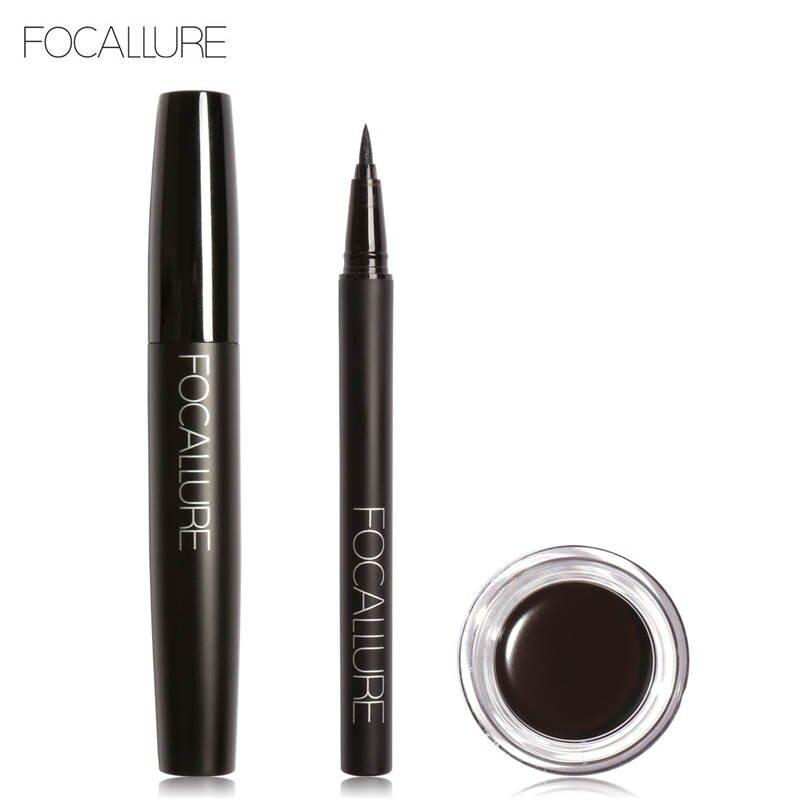 Detail Gambar FOCALLURE Pro 3Pcs Eyes Daily Makeup Use Black Eyeliner  Mascara and Eyebrow Cream 01 a40891d3f7