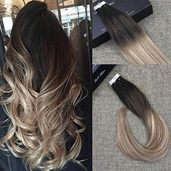 Full Shine 18 Inch Ombre Hair Extensions Human Hair Extensions Glue