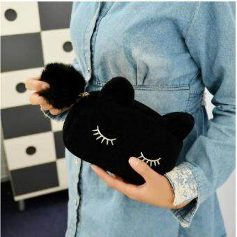 Harga High Quality Cutie Cat Velvet Solid Color Makeup Bag Cosmetic MakeUp Organizer Bag Women Bag Cosmetics Acessories Makeup Pouch MakeupBag (Black)