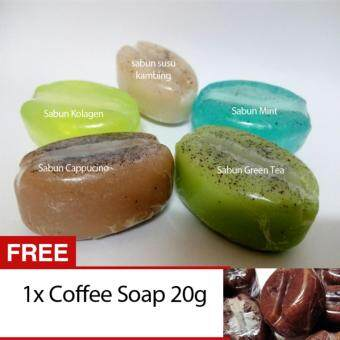 Harga 5 MIX SOAPS (CAPPUCINO, MINT,GOAT MILK, COLLAGEN,GREEN TEA)+ FREE 1 COFFEE SOAP