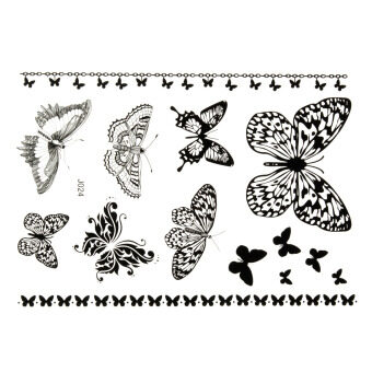 Harga J024B Removable Waterproof Arm Body Art Temporary Black Henna Lace Tattoo Sticker