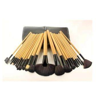 Harga Ai Home 24 Pcs Makeup Brushes Cosmetic Tool Set Beauty Accessories Wood Color Brush Set (Black)