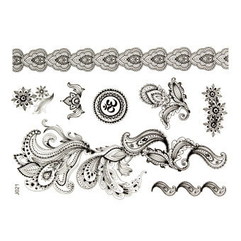 Harga J021B Removable Waterproof Arm Body Art Temporary Black Henna Lace Tattoo Sticker