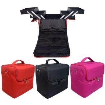Harga OS Professional Korea Type 3-Layer Waterproof Beauty Light Large Cosmetics Storage Make Up Bag (Black)