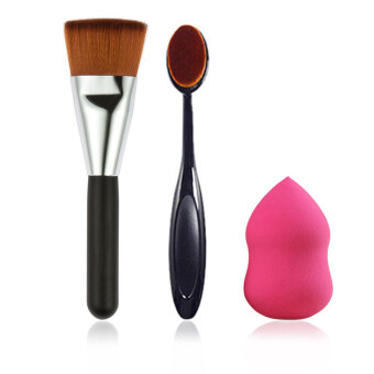 Harga KissU Complelte Face Brush Power Brush Tooth Brush Oval Makeup Brushes + Powder Sponge Puff Makeup Sets