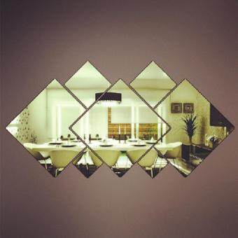 Harga Square Mirror Wall Sticker for Living Room Bathroom Movable Wall Sticker