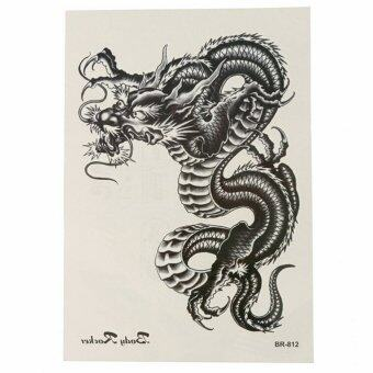 Harga Waterproof Black Dragon Pattern Temporary Tattoo Body Arm Art Sticker Removable