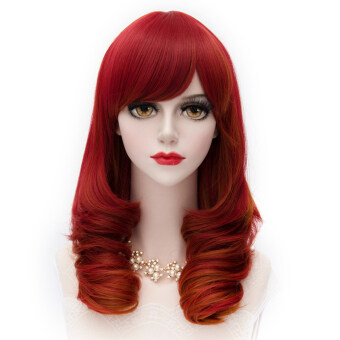 Harga Cosplay COS Wigs Airy Curl Hair Red