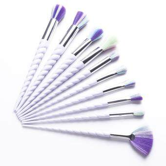 Harga Ai Home 10pcs Unicorn Thread Makeup Cosmetic Brushes Set With Colorful Rainbow Hair And White Delicate Diamond Shape Handle (White)