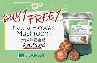 Harga Biogreen Natural Flower Mushroom (130g/pack) Buy 1 Free 1