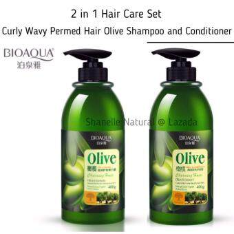 Harga Hair Care Set Curly Wavy Permed Olive Hair Care Shampoo and Conditioner [ 2 in 1 ] BIOAQUA NATURAL OLIVE HAIR ELASTIN  [400ML] + OLIVE HAIR CONDITIONER [400ML]