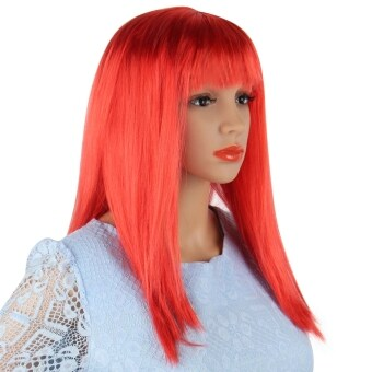 Harga Long Straight Wigs Fancy Dress Cosplay(Red)