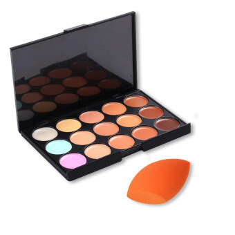Harga KissU Professional 15 Colour Make Up Concealer Palette + Sponge Beauty Cosmetics Value Pack