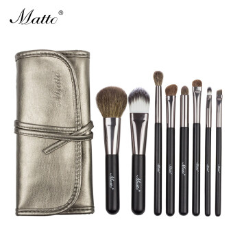 Harga Matto 8pcs Goat Hair Makeup Brushes Set Cosmetics Beauty Professional Make Up Tools With Leather Bag (Black)