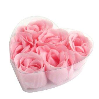 Harga 6PCS Bath Body Roses Flower Petal Soap Heart Box Gift Wedding Favor Decoration Pink