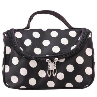 Harga Ai Home Portable Women Makeup Bags with Mirror Cosmetic Case White Dots (Black)