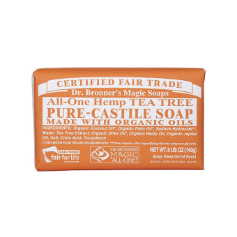 Harga Dr. Bronner's Magic Soaps Pure Castile Organic Bar Soap 5oz/140g (# Tea Tree) / 2 PCS