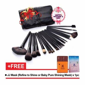 Harga Make-up For You 24pcs High Quality Professional Cosmetic Makeup Brush Set Black With Pouch Bag (1 Set) FREE Jayjun Mask x 1 pc
