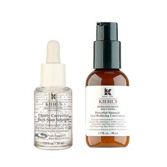 Harga Kiehl's Kiehl's Dermatologist Solutions Clearly Corrective Dark Spot Solution 1oz, 30ml + Powerful-Strength Line-Reducing Concentrate 1.7oz, 50ml (1 set, 2 pcs)
