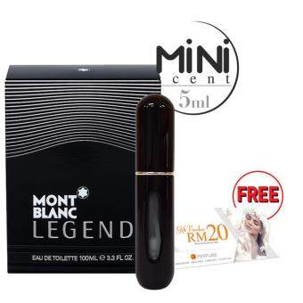 Harga SD 5ml Mini Scent - Black : Mont Blanc Legend EDT + FREE RM20 SD Voucher