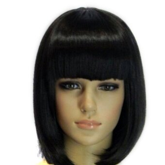 Ladies' Short Neat Bangs BOB Cosplay Hair Extensions Wig for Masquerade Party Halloween Christmas