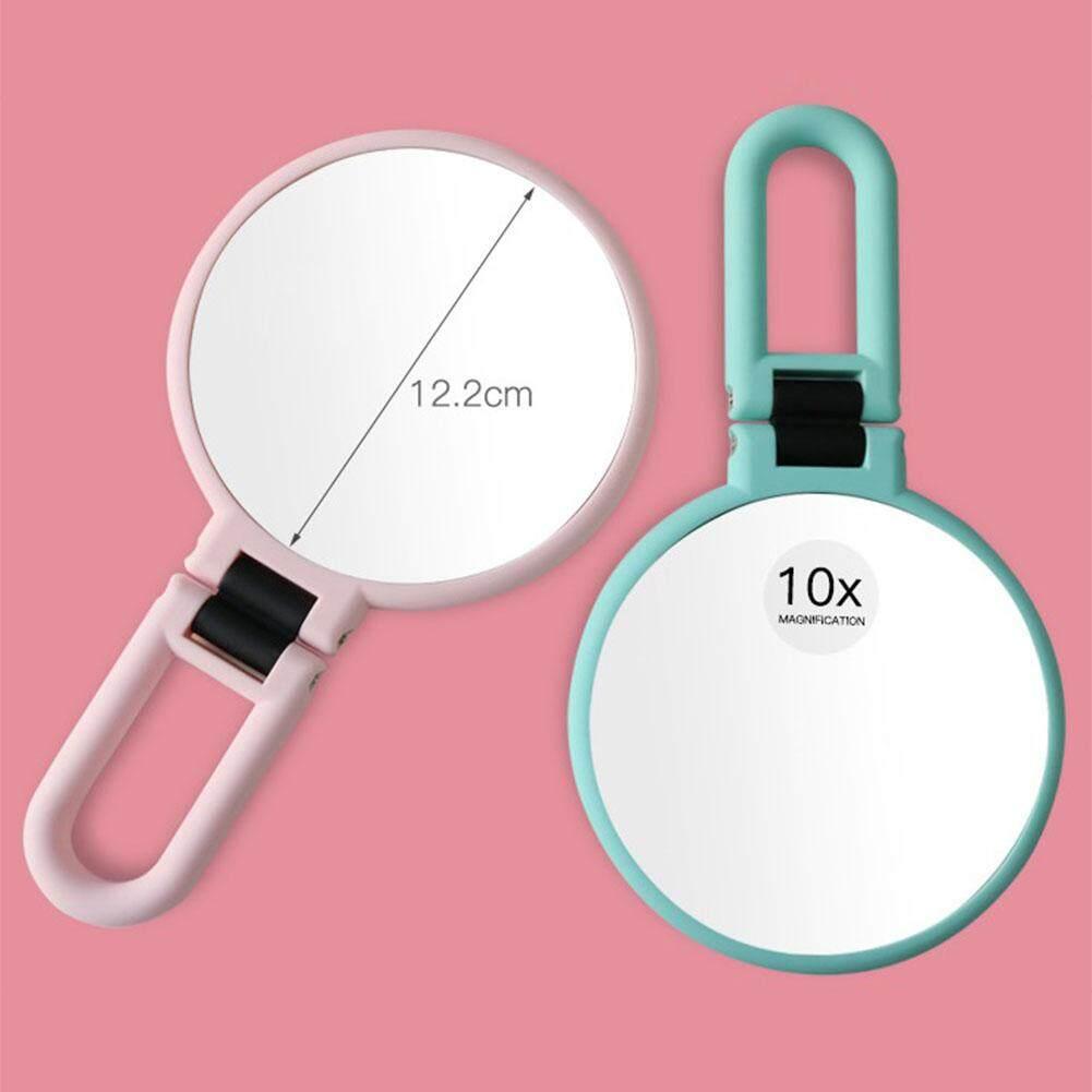 Lucky-G Portable Double-Sided Make-up Cermin 10 Kali Pegangan Tangan Kaca