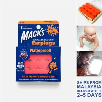 Mack's Kids Size Soft Moldable Silicone Putty Earplugs, 6 Pair - USA Macks Baby Children Infant Newborn Toddler Airplane Ear Plugs Hearing Protector for Bathing Flying Swimming Traveling Penutup Telinga Bayi Pelindung Penyumbat Sumbat Kuping ??