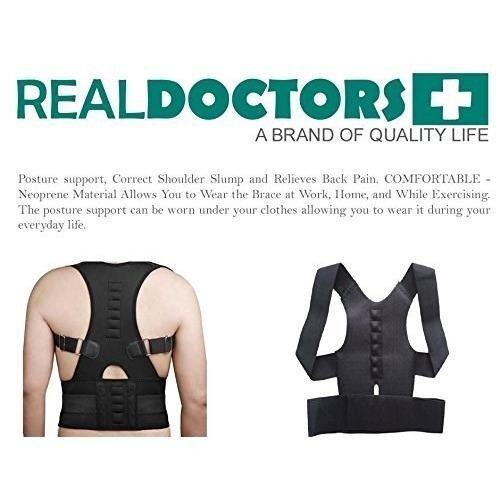 Magnetic Posture Humpback Support Corrector Belt Back Brace Strap (Black colour-size M)