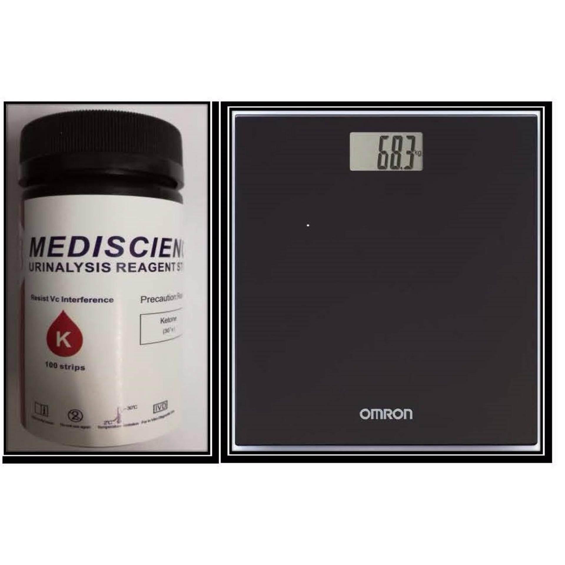 MediScience Ketone Urine Strips 100s+ Omron Weighing Scale HN289 Black (Warranty One Year)