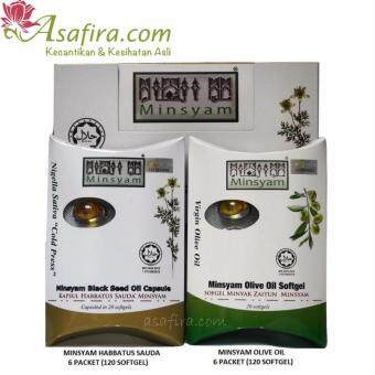 Harga Minsyam Black Seed Oil 120 Softgel (Habbatus Sauda) + Virgin Olive Oil 120 Softgel