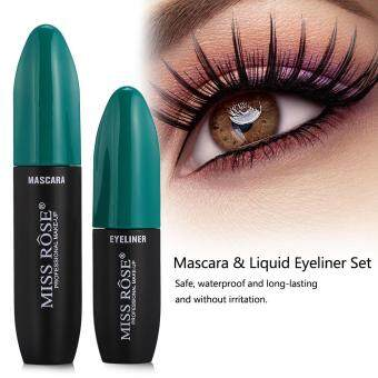 MISS ROSE 2In1 3D Fiber Mascara Liquid Eyeliner Waterproof Eyelash Makeup Set Green