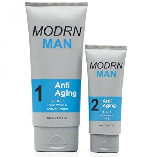 MODRN MAN Anti Aging System For Men, (1) Worlds 1st 2-in-1 Mens Daily Face Wash & Shaving Cream, (2) Premium 2-in-1 Mens Face Moisturizer & Sunscreen - intl