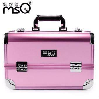 Harga MSQ Aluminum Alloy Professional Makeup Candy Pink Box Multi-LayerCosmetic Bag Travel Portable Make Up Storage Bags