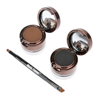Harga Music Flower 4 in 1 Waterproof Eyebrow & Eyeliner Cream(Black/Brown)