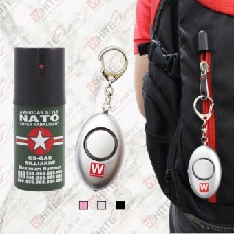 Harga Nato 40ml 10ft Pepper Spray + 120dB Elipse Personal Alarm (Silver)