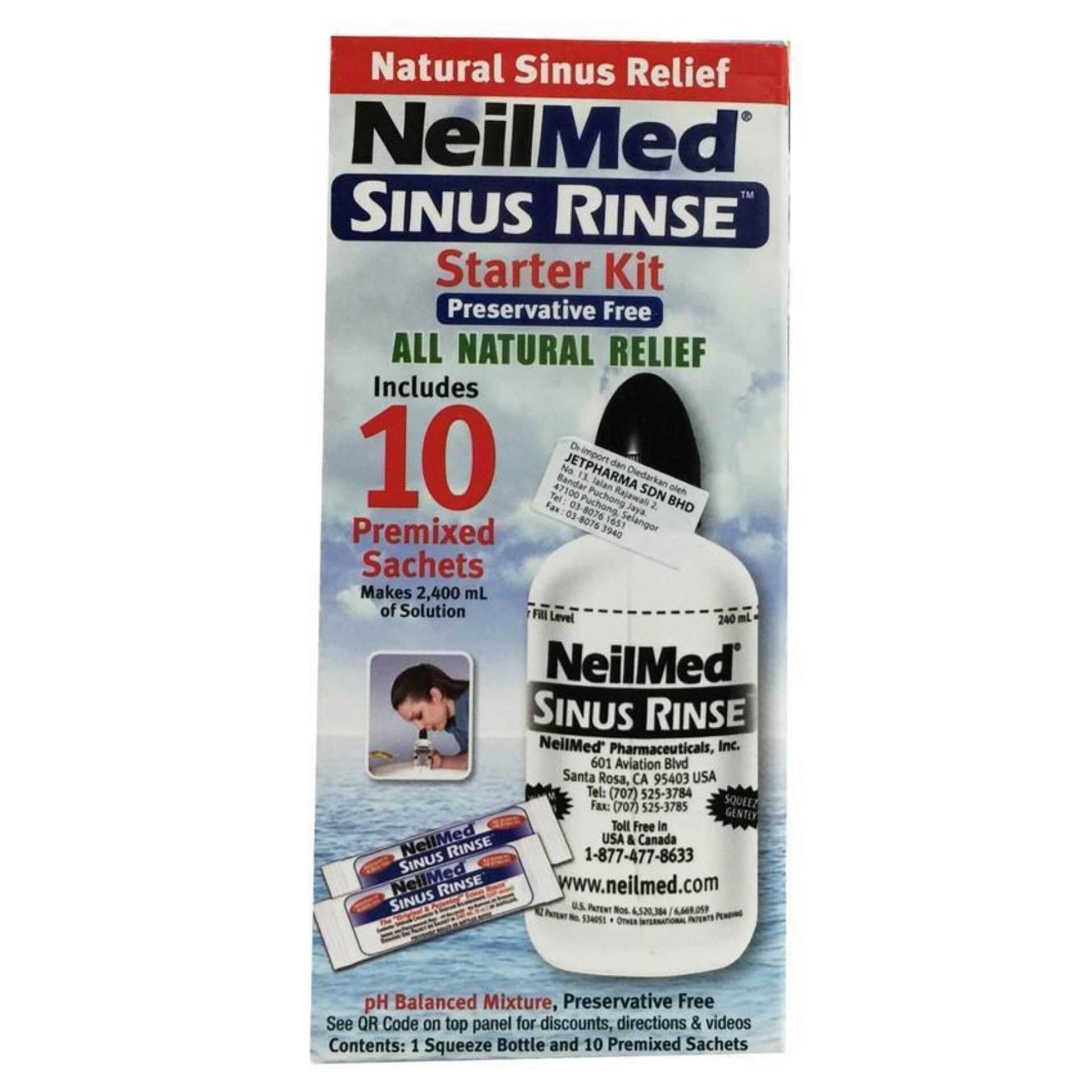 NeilMed Sinus Rinse Nasal Wash Starter Kit + 10 Premixed Sachets