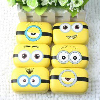 Harga New Design Cute DIY Sweet Expression Minions Series Metal Contact Lenses Box for Gift Contact Lens Case