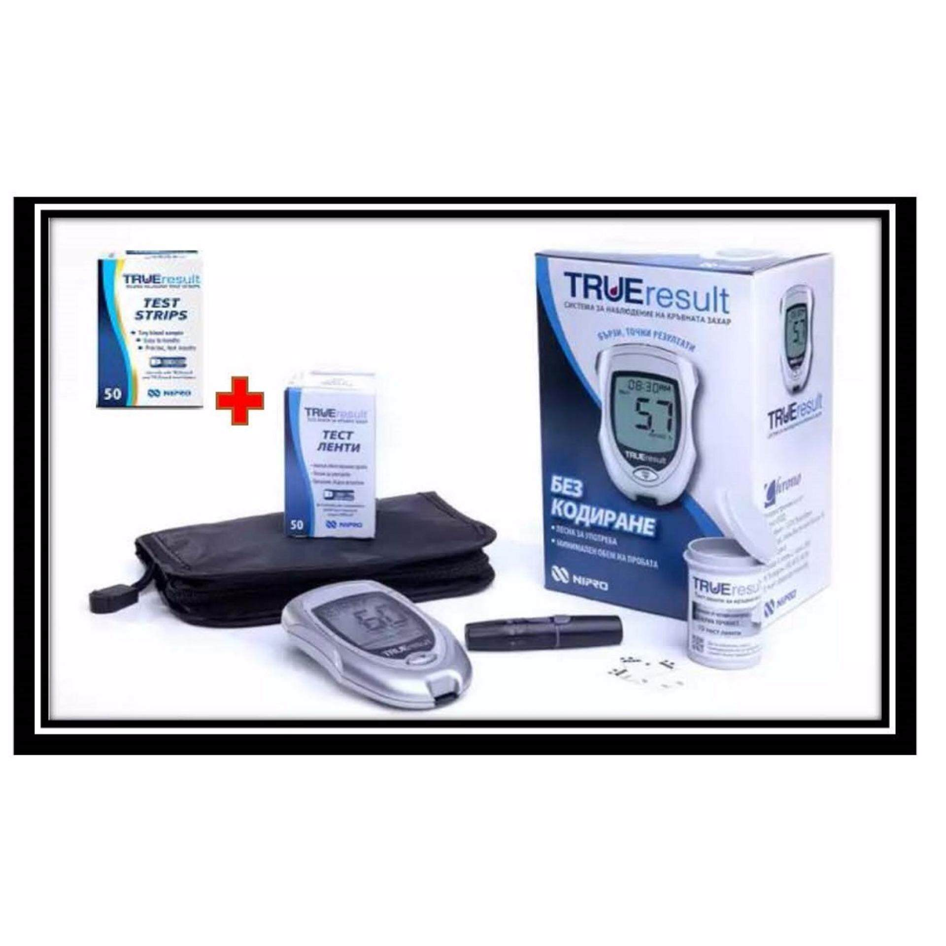 Nipro True Result (Lifetime warranty) Blood Glucose Meter Monitor Glucometer With 100 strips