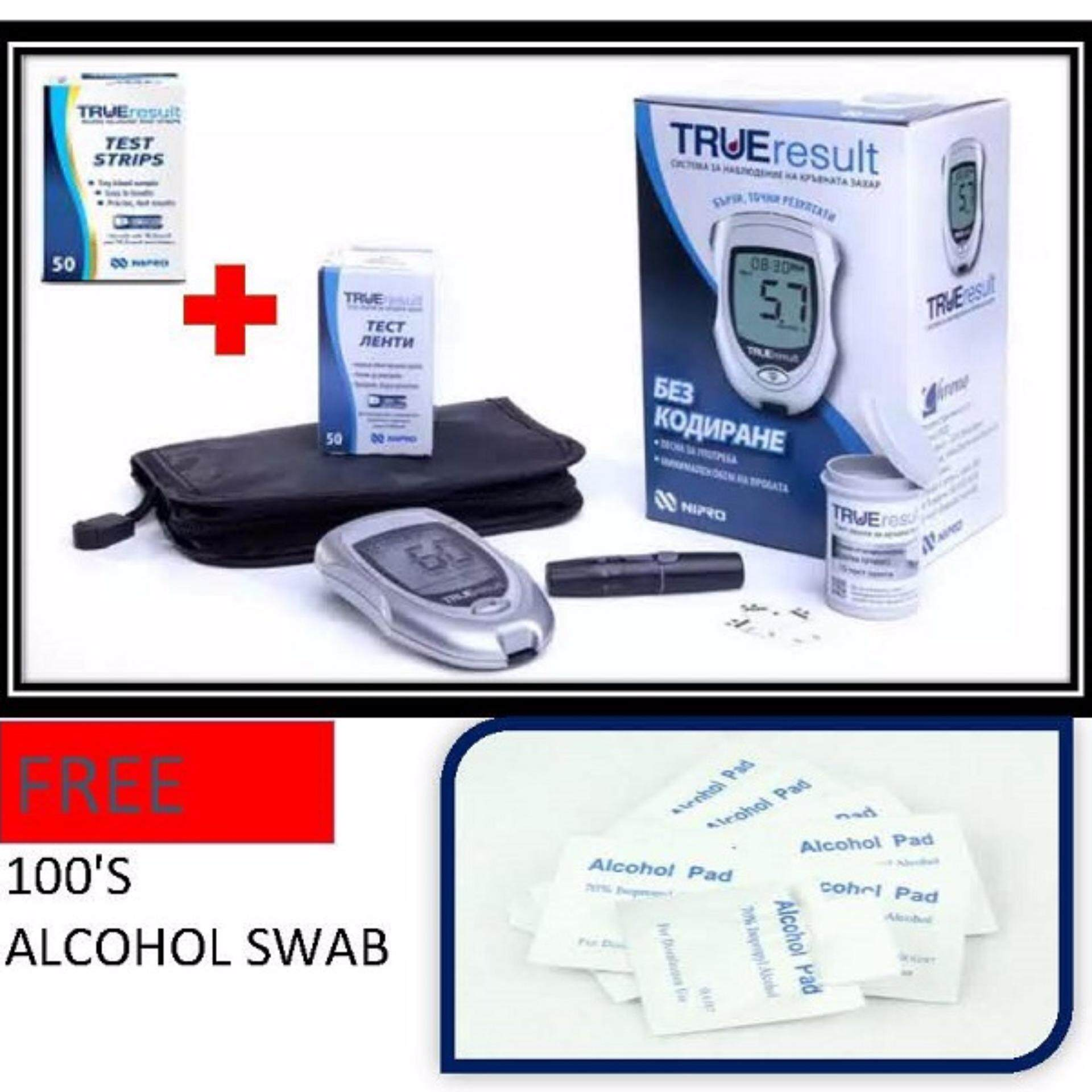 Nipro True Result (Lifetime warranty) Blood Glucose Meter Monitor Glucometer With 100 strips FOC 100's Alcohol Pads