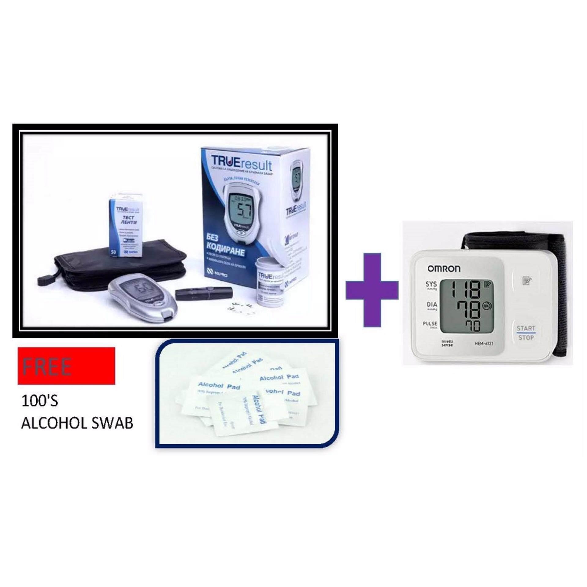 Nipro True Result (Lifetime warranty) Blood Glucose Meter Monitor Glucometer With 50 strips + (Original) Omron HEM-6121 Wrist Blood Pressure Monitor (5 Years Warranty) FOC 100's Alcohol Pads