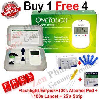 Harga One Touch Select Blood Glucose Meter Free 25 Strips + 100 Lancets+100 Alcohol Pad+Flashlight Earpick