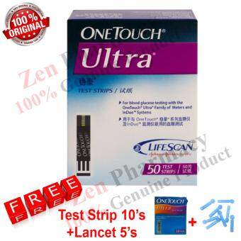 Harga One Touch Ultra Test Strips 50's FREE strip 10's+Lancet 5's