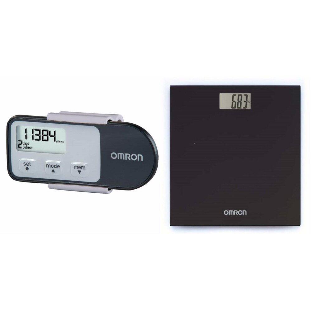 (Original) Omron HJ-321 Pedometer Black+ HN289 Weighing Scale Black (Warranty One Year)