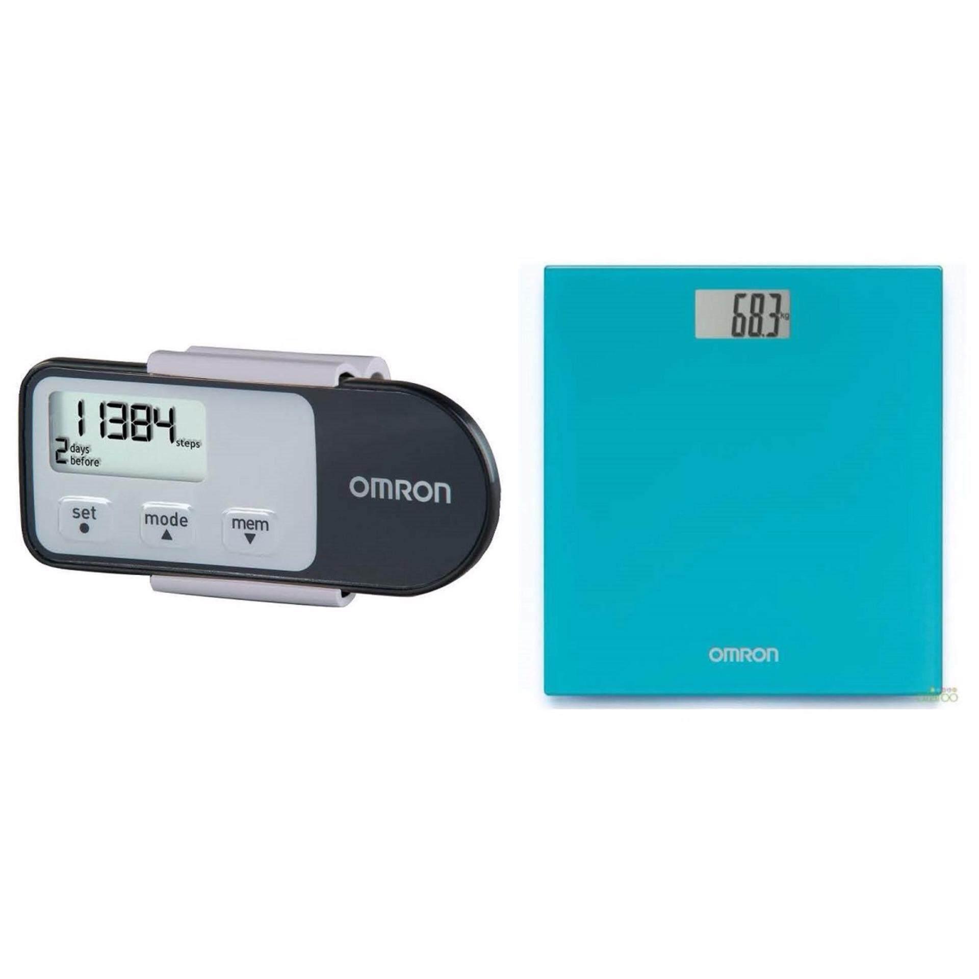 (Original) Omron HJ-321 Tri-Axis Pedometer Black+ HN289 Weighing Scale Ocean Blue (Warranty One Year)