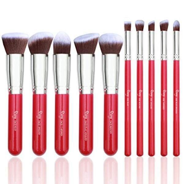 Qivange Makeup Brush Set, Vegan Bronzer Foundation Eyeshadow Kabuki Brushes for Flawless Look(10pcs, Rose Red with Silver) - intl