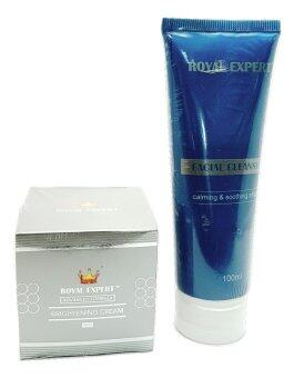 Harga Royal Expert Advance Formula Brightening Cream 50 ml (Silver) + Royal Expert face cleanser ( 100ml )