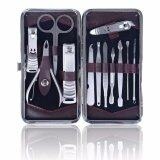 SHANY 12 In 1 Manicure/Pedicure Kit with Brown Case, Stainless Steel French Press, 8.2 Ounce